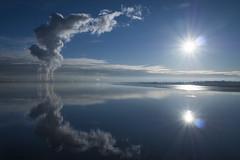 Smoke and Mirror (Iain McGregor) Tags: water blue sky beautiful reflection mirror sun cloud scotland smoke pollution bp river forth weather uk symmetry lumix panasonic gx8