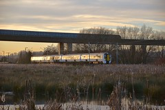 Electrostar 379 009 on the 15.09 departure from Hertford East - Broxbourne service, passing under the A10 Viaduct, on approach to Ware. 04 12 2016 (pnb511) Tags: hertford hertfordshire leavalley park river lee lea reeds sun hertfordeast hertfordbranch greateranglia class379 emu trains railways a10 viaduct