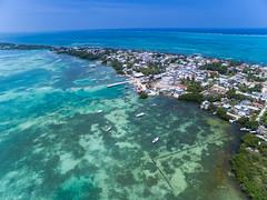 Luftbild vom Caye Caulker Village in Belize