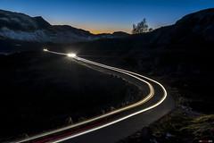 Arrival... (bent inge) Tags: sunset norway october driving nightshot telemark nightdrive haukeli 2015 vinje haukelifjell norwegianmountains bentingeask