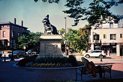 Longfellow Square (David Swift Photography Thanks for 16 million view) Tags: sculpture film 35mm olympusstylusepic maine statues portlandmaine monuments longfellow henrywadsworthlongfellow kodakportra longfellowsquare davidswiftphotography