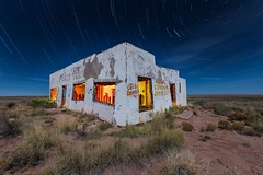 Route 66 Painted Desert (Aztravelgrl (Forgotten Places Photography)) Tags: longexposure nightphotography arizona usa lightpainting abandoned us lowlight route66 unitedstates painteddesert abandon chambers