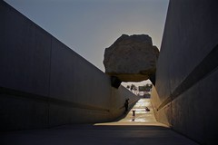 Super Girl (tatsuya.ouchi) Tags: california ca street travel family sunset people sculpture woman usa sunlight cute art girl sunshine rock stone museum contrast america giant happy la losangeles power lift sundown little father snapshot mother picture line enjoy massive take passage powerful lacma raise lifting putup visiter levitated levitatedmass