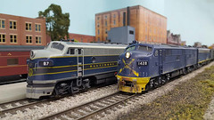 Passing Into History (NAPM Model Railroad Club) Tags: road railroad ohio 3 scale electric wisconsin club train layout miniature model scenery track power mail diesel cab dcc north engine 7 craft rail railway loco rr baltimore hobby prototype american f e milwaukee electro locomotive bo motive express passenger f3 ho division 187 e7 modelers emd baltimoreandohio gmd f3a dieselelectric baltimoreohio electromotive e7a napm nampltd