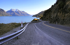 Scenic Drive (AlfredYKH Photographie) Tags: road travel sunset newzealand sunrise landscape drive driving scenic route queenstown middleearth sh1 glenorchy workingholiday myng purenz alfredykh realmiddleearth nzmustdo