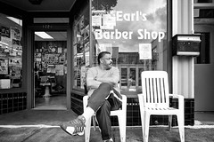 Alone on the hill (mkc609) Tags: barberchair barbershop chairs or portland street streetphotography bw blackandwhite blackwhite urban candid nyc newyork newyorkcity