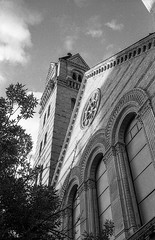 Architectural Details (vpastro) Tags: film canon canonet giii ql17 architecture ilford ilfordhp5 blackandwhite monochrome newyork upperwestside contrast church westendpresbiteryanchurch perspective angle