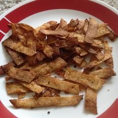 Spiced tortilla chips (bnichnadowicz) Tags: instagramapp square squareformat iphoneography uploaded:by=instagram corntortillas chilipowder onionpowder garlicpowder baked cayenne