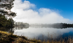 Lake panorama (Webpun) Tags: panorama nikon sigma nature landscape sweden jmtland jamtland fog mist clouds forest wood lake outdoor sky cloud