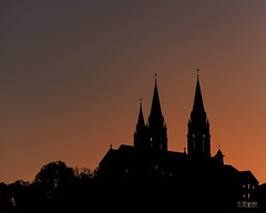 Holy Hill Sunset (In Wonder Photo) Tags: sunset church silhouette backlit black peach hubertus wiscnsin nikon d750 markadsit