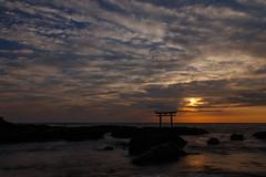Sunrise of the pacific ocean (t.kunikuni) Tags: jp               japan ibaraki ibarakiken oarai oaraimachi oaraicoast oaraiisomaejinjashrine sunrise daybreak dawn coast sea ocean shrine torii pacificocean
