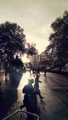 Sun and morning rain on embankment. (Jack (Commodore)) Tags: embankment london thames commute silhouette