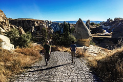 How far we go (Melissa Maples) Tags: ortahisar turkey trkiye asia  apple iphone iphone6 cameraphone kapadokya cappadocia morning rockformations stone fairychimneys path couple beate frank trkiye