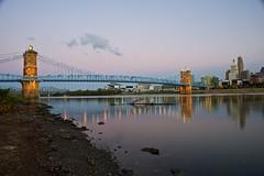 Covington, Kentucky riverbank at sunrise (durand clark) Tags: covingtonkentucky ohioriver sunrise roeblingsuspensionbridge suspensionbridge reflections nikon 24mm f28 nikond700 nikon24mm28