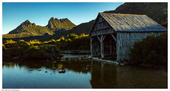 That shed - Cradle Mtn (Kent Wilkins) Tags: tasmania tasmania2016 dove lake cradle mountain australia boat shed reflection landscape sunset long exposure water bush sky timber framed light