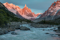 Alpenglow at Dawn, Cerro Torre (sierra_bum) Tags: patagonia argentina rivers mountains glaciers dawn alpenglow parques nacionales light water landscapes canon tokina canonusa tokinausa flickr