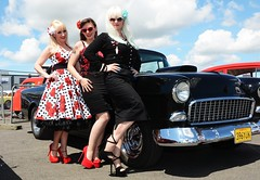 Holly, Jackie & Sharon_7409 (Fast an' Bulbous) Tags: car cars hot rod american classic automobile vehicle show dragstalgia santapod england summer people outdoor girl girls woman women hotty sexy chick babe long brunette blonde hair skirt dress wiggle circle rockabilly sunglasses stockings seamed high heels stiletto shoes model models pose pinup legs