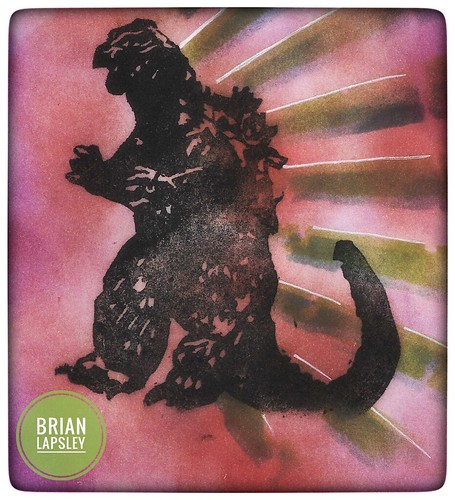 Godzilla Power #godzilla #rubberstamp #craft #carve #briancarves #brianlapsley #art #stamp #make #create