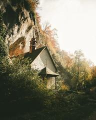 Chapel in a Rock - Hermitage (noberson) Tags: chapel church hermitage hermit light beautiful wilderness green morning shine shining autumn colors color holy solothurn schweiz switzerland einsiedelei rttenen