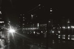 London At Night (goodfella2459) Tags: nikon f4 af nikkor 50mm f14d lens kodak trix 400 35mm black white film analog london night cars traffic light milf city