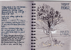 Dover Cafe above the White Cliffs (patsouthern-pearce/Skyeshell) Tags: sketch urban sketchers grey toned sketchbook strathmore bare tree autumn cliff top harbour free drawing fountain pen branches sea