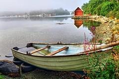 Misty summer morning, Norway (Vest der ute) Tags: g7x norway rogaland ryksund earlymorning mist boat boathouse seascape sea water landscape trees rocks reflections mirror flowers fav25