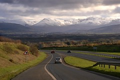 North Wales. Go! (PentlandPirate of the North) Tags: a55 anglesey northwales snowdonia snow mountains autumn winter dualcarriageway