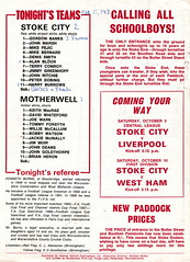 Stoke City vs Motherwell - 1970 - Back Cover Page (The Sky Strikers) Tags: stoke city motherwell texaco cup victoria ground official programme 1