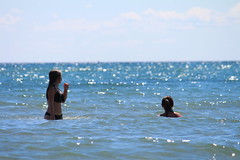 Cousins (KathleenYvonne) Tags: california family girls summer lake playing ontario canada love beach water beauty animals closeup angel canon fun rebel football model cousins seagull blondes happiness august mermaids actress lakeontario brunettes edits cobourg 2015 t4i taylorswift