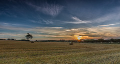 Just The Two Of Us (Steven Peachey) Tags: uk sunset england sky cloud field canon landscape exposure harvest farmland bales stubble countydurham ef1740mmf4l lee09gnd canon6d hawkdog