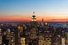 New York Skyline (PauloRossi) Tags: new york city nyc newyorkcity sunset sky usa ny newyork skyline night buildings lights us state dusk panoramic empire rockefeller totr