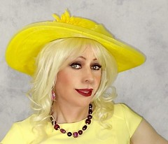 Daphne Portrait in Yellow (msdaphnethos) Tags: portrait hat yellow tv cd tgirl transgender chapeau blonde transvestite crossdresser crossdress enhanced daphnethomas