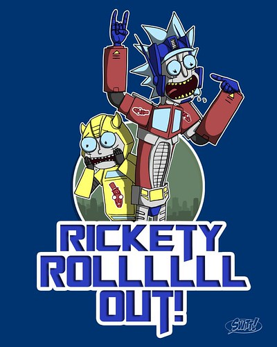 "Here's the full on Rick for ""RICK ROLL OUT!"" #RickandMorty  Available at:  TeePublic($14 for 72 hrs) : http://tee.pub/lic/EzuMLR1-P3g NeatoShop : http://www.neatoshop.com/product/RICK-ROLLLLLL-OUT  #rickandmorty #rickandmorty100years #rick #morty #Transfo"