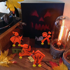 Witch House and Attack Nine (bindlegrim) Tags: music orange holiday halloween vintage skeleton purple jackolantern wheels bat band vinyl kitsch plastic record drummer characters antiques limitededition collectibles whistles hauntedhouse vintagestyle spook 3dprinting moderncool