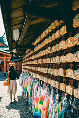 Wishing plaques hung up at Fushimi Inari, Kyoto (SiTakesPhotos) Tags: travel autumn summer fall japan plaque hope kyoto shrine asia buddhist prayer dream buddhism adventure dreams hopes wishes wish shinto ema prayers fushimiinari wishing plaques 絵馬 fushimiinarishrine