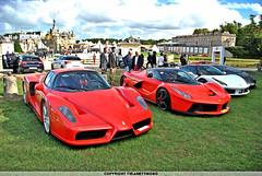 Italian Power : Trilogy (MANETTINO60) Tags: red paris sport rouge italia power arts dream f1 ferrari voiture forza enzo trio chateau hdr v8 spotting chantilly maranello gtb supercars elegance v12 vehicule 488 carbone rmr hypercar laferrari