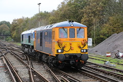 GBRf 73963 with 66711 on 0Y73 at Fareham 8/11/15 (Ewan's rail pics) Tags: janice fareham sence livery class66 aggregateindustries class73 gbrf 66711 73963 0y73 lightengineconvoy 1347eastleigheastyardtotonbridgewestyard