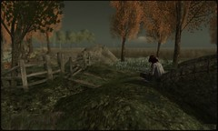Anywhere but here. (sirenpetal) Tags: bridge reading sl secondlife solitary