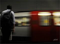 not going fast enough (gicol) Tags: uk motion london station train underground subway waiting unitedkingdom tube transportation londres esperando stazione londra treno metropolitana estación transporte traveler mosso ferrocarril movido viajero aspettare viaggiatore trasporto