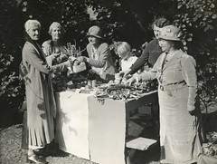 Charlotte Despard and Emmeline Pethick Lawrence at a produce stall, 1930s.