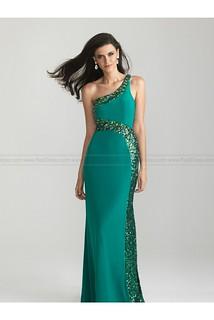 New Arrival Sequins Trimmed One Shoulder Prom Dress