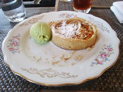 Pear tart served with basil flavored gelato (cohodas208c) Tags: restaurant italianfood centralparkwest newyorkhistoricalsociety caffestorico