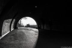 Walking in the Dark (FreeManFreeWorld) Tags: dark black freemanfreeworld montreal oratory tunnel circle shadow sky brightness luminosity