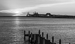 Brian_Bay Bridge Sunset From Hemingways 5 LG BW_081916_2D (starg82343) Tags: 2d brianwallace outdoors outside sun sunset evening goldenhour easternshoreofmd md maryland sky clouds grayscale pier pilings water bay chesapeakebay baybridge silhouette blackandwhite monotone monochrome bridge span