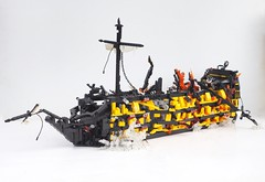 The Sinking of the HMS Endeavour (W. Navarre) Tags: lego endeavour ship pirates caribbean hms sails mast explosion sinking chain fall