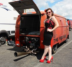 Holly_7345 (Fast an' Bulbous) Tags: long brunette hair people outdoor wiggle dress skirt girl woman hot sexy chick babe seamed silk stockings high heels red shoes legs beauty car vehicle automobile oldtimer classic sunglasses santapod dragstalgia model pose england summer hotty stilettos pinup