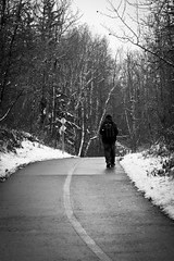 Walk (rosarioarbin) Tags: photo photography photos blackandwhite greyscale walk walking nature snow hike trail winter trees sightseeing alone cool cold weather picture portraiture outdoor