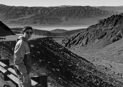 Donnie in Panamint Mtns (donminer) Tags: blackwhite travel desert mountains sand road boy person winding desolate hot