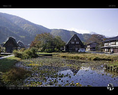 Dreamy and Steamy (tomraven) Tags: houses aframe architecture shirakawago tomraven aravenimage reflections water pond viullage morning steam evaporation bluesky tomraveninjapan q42016 nikon1 v2
