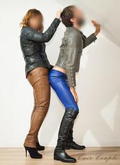 elle300 (Cuir Couple) Tags: cuir leder leather cuero veste jacket jupe skirt pantalon pant hosen mistress maitresse cuissardes matre master bondage bdsm cravache martinet